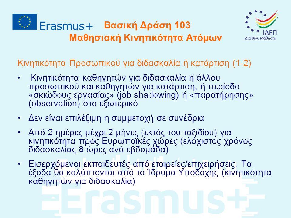 Βασική Δράση 103 Μαθησιακή Κινητικότητα Ατόμων Υποβολή Αιτήσεων (3-7) B.1.