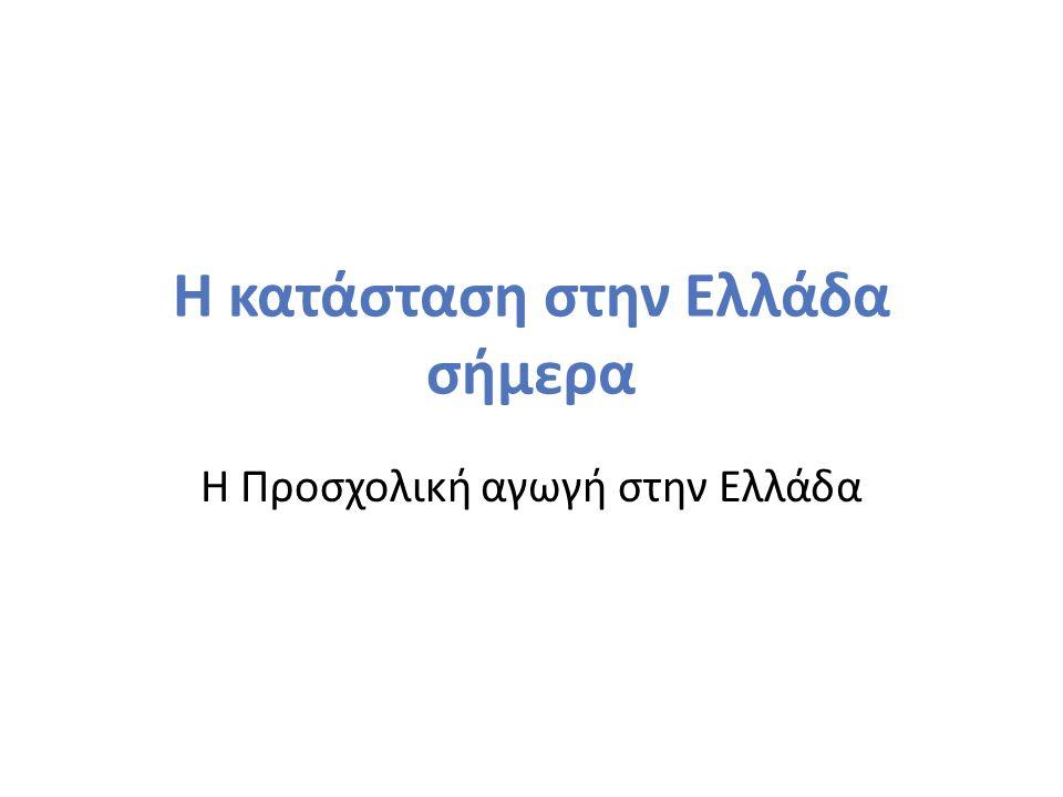 Η κατάσταση στην Ελλάδα σήμερα Η Προσχολική αγωγή στην Ελλάδα
