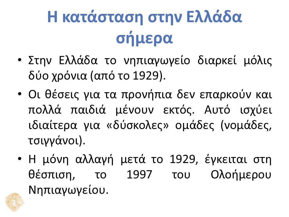 Η κατάσταση στην Ελλάδα σήμερα Στην Ελλάδα το νηπιαγωγείο διαρκεί μόλις δύο χρόνια (από το 1929). Οι θέσεις για τα προνήπια δεν επαρκούν και πολλά παι