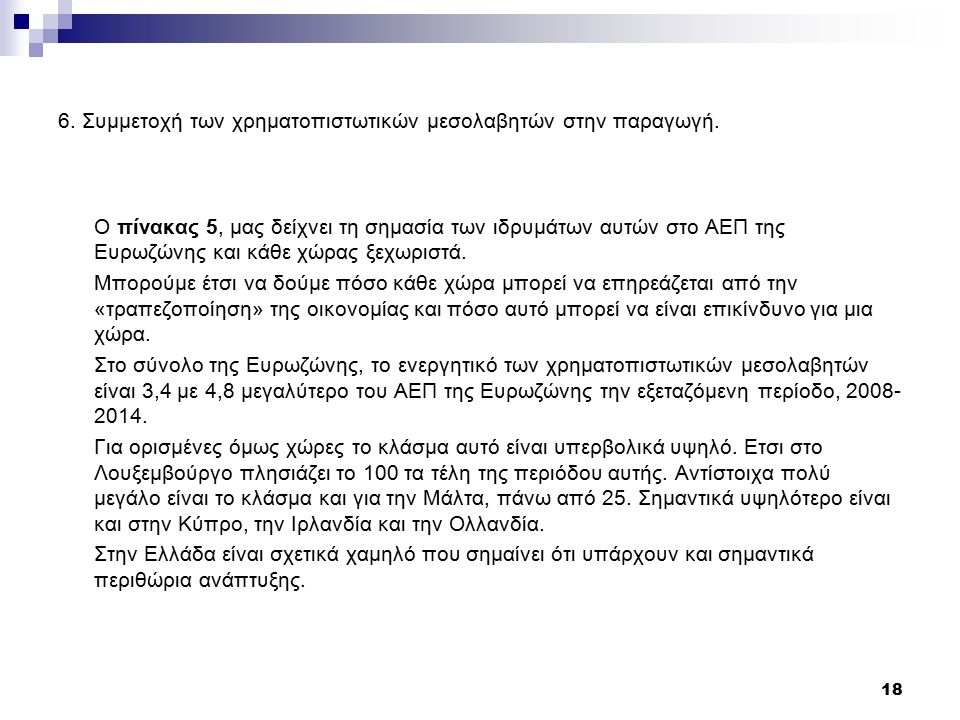 6. Συμμετοχή των χρηματοπιστωτικών μεσολαβητών στην παραγωγή.
