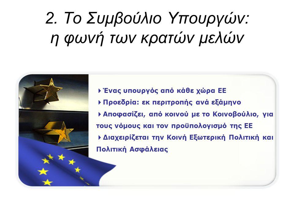 2. Το Συμβούλιο Υπουργών: η φωνή των κρατών μελών  Ένας υπουργός από κάθε χώρα ΕΕ  Προεδρία: εκ περιτροπής ανά εξάμηνο  Αποφασίζει, από κοινού με τ