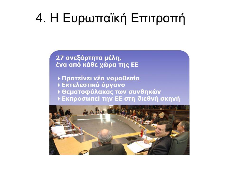 4. Η Ευρωπαϊκή Επιτροπή 27 ανεξάρτητα μέλη, ένα από κάθε χώρα της ΕΕ  Προτείνει νέα νομοθεσία  Εκτελεστικό όργανο  Θεματοφύλακας των συνθηκών  Εκπ