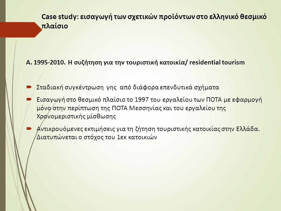 Α. 1995-2010. Η συζήτηση για την τουριστική κατοικία/ residential tourism  Σταδιακή συγκέντρωση γης από διάφορα επενδυτικά σχήματα  Εισαγωγή στο θεσ