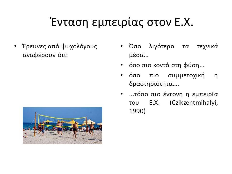 Ένταση εμπειρίας στον E.X. Έρευνες από ψυχολόγους αναφέρουν ότι: Όσο λιγότερα τα τεχνικά μέσα...