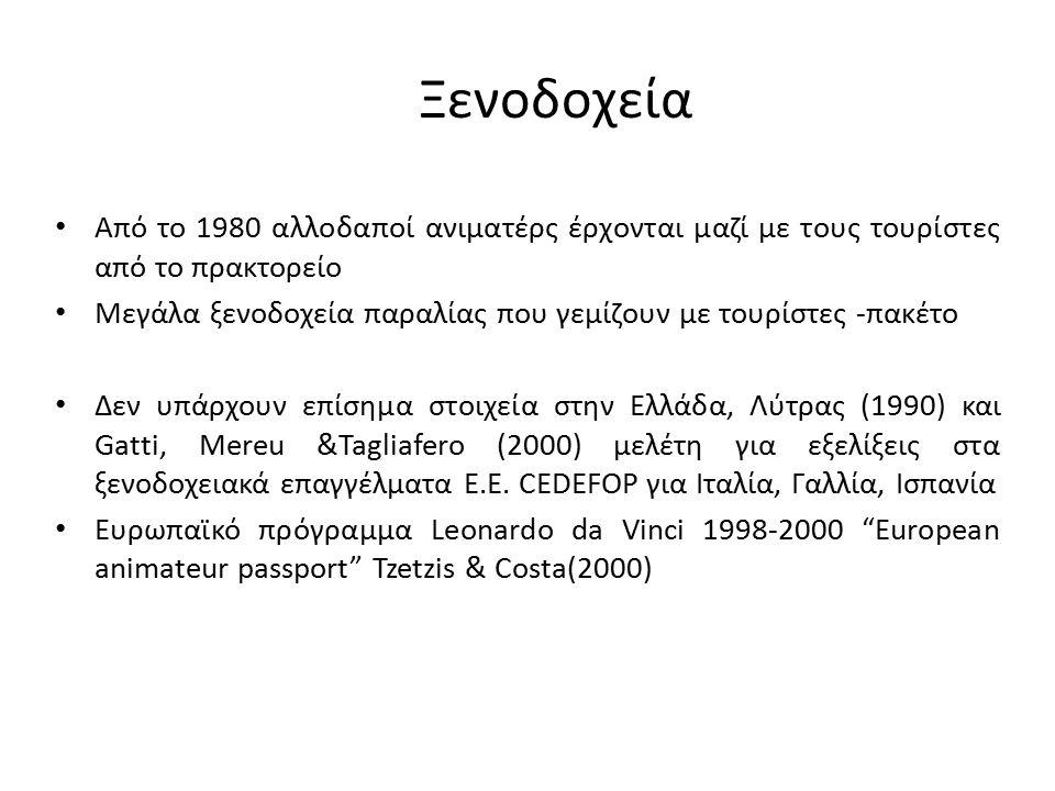 Ξενοδοχεία Από το 1980 αλλοδαποί ανιματέρς έρχονται μαζί με τους τουρίστες από το πρακτορείο Μεγάλα ξενοδοχεία παραλίας που γεμίζουν με τουρίστες -πακέτο Δεν υπάρχουν επίσημα στοιχεία στην Ελλάδα, Λύτρας (1990) και Gatti, Mereu &Tagliafero (2000) μελέτη για εξελίξεις στα ξενοδοχειακά επαγγέλματα Ε.Ε.