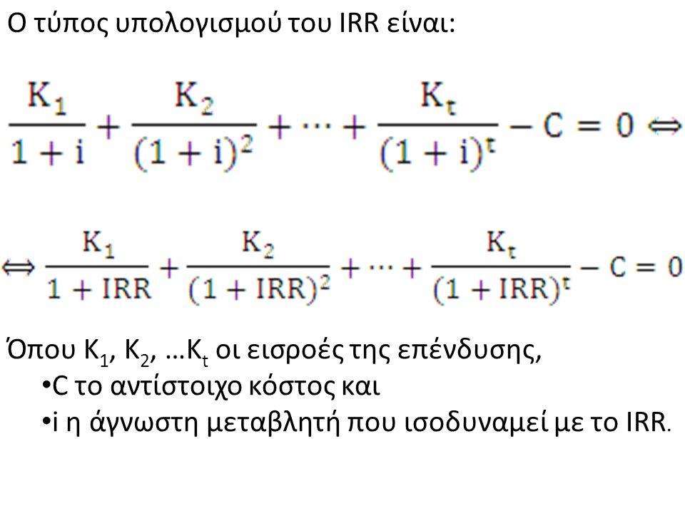 Εσωτερικό επιτόκιο απόδοσης (IRR) είναι το επιτόκιο που εξισώνει την Κ.Π.Α.