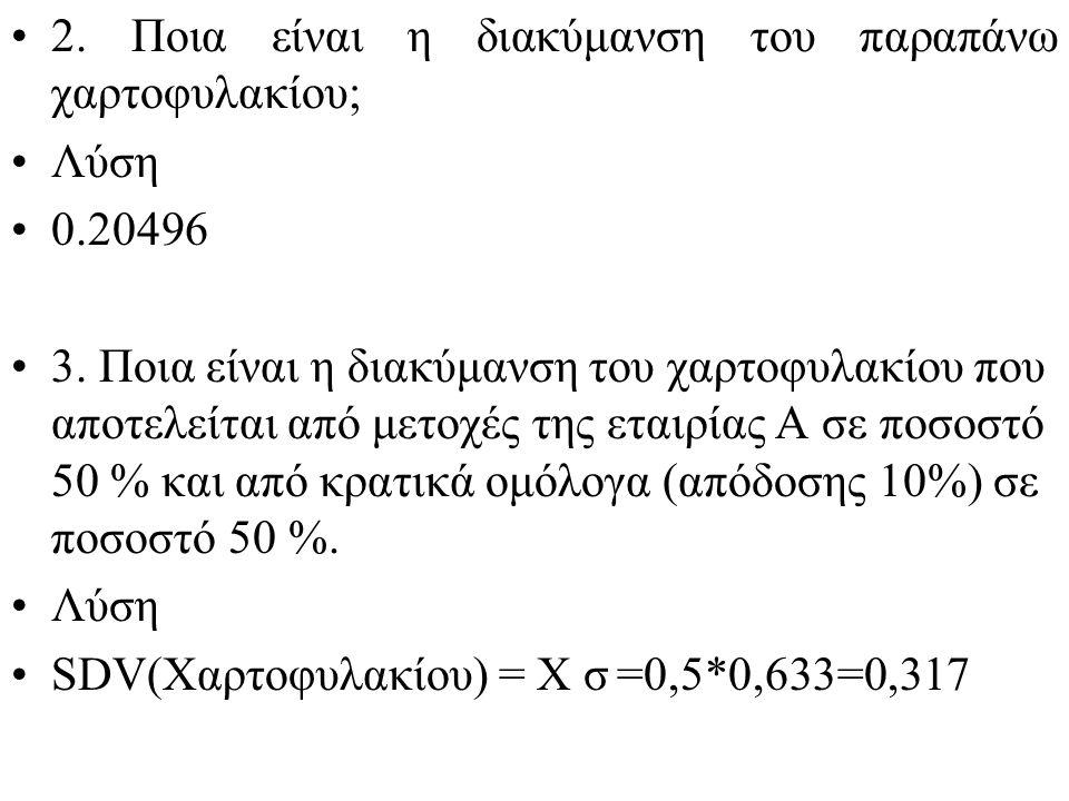 2.Ποια είναι η διακύμανση του παραπάνω χαρτοφυλακίου; Λύση 0.20496 3.
