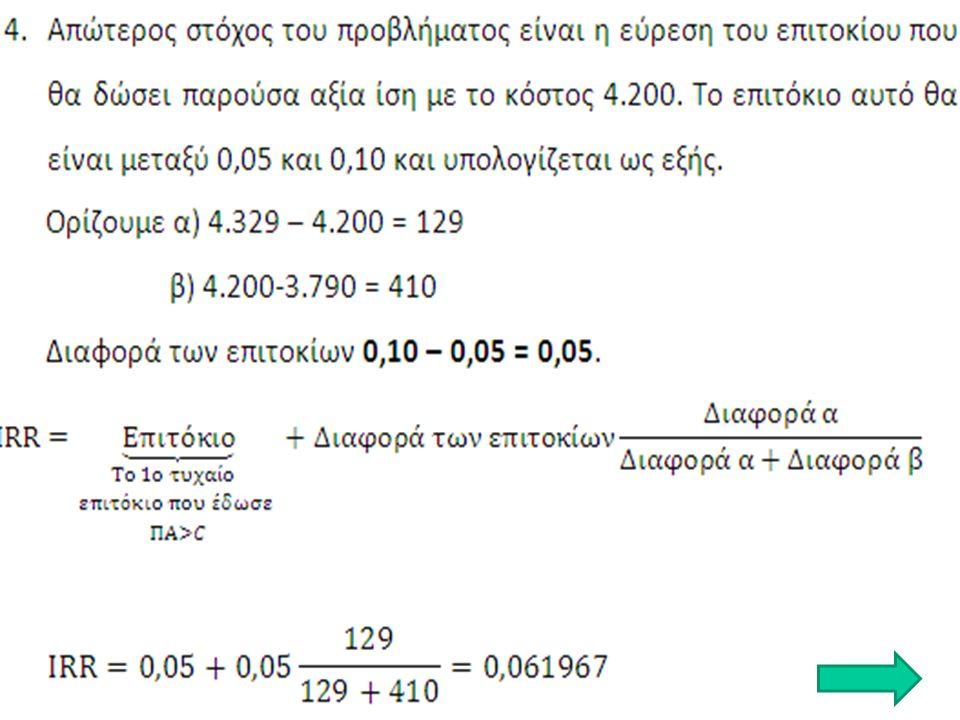 n/in/i 0,080,090,1 10,9259260,9174310,909091 21,7832651,7591111,735537 32,5770972,5312952,486852 43,3121273,2397203,169865 53,9927103,8896513,790787 64,6228804,4859194,355261 Η παρούσα αξία των εισροών είναι μικρότερη από το κόστος της επένδυσης κατά 4.200 - 3.790 = 410 3.H διαφορά μεταξύ των δυο επιτοκίων που χρησιμοποιήσαμε στις παραπάνω προεξοφλήσεις είναι ίση με 0,10 – 0,05 = 0,05.