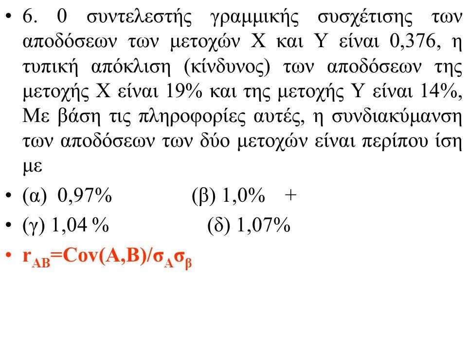 5. Με βάση το υπόδειγμα αποτίμησης κεφαλαιακών στοιχείων (CΑΡΜ) θέλουμε να αποτιμήσουμε την ελκυστικότητα μετοχών (Α, Β), που διακινούνται σε αγορά τη