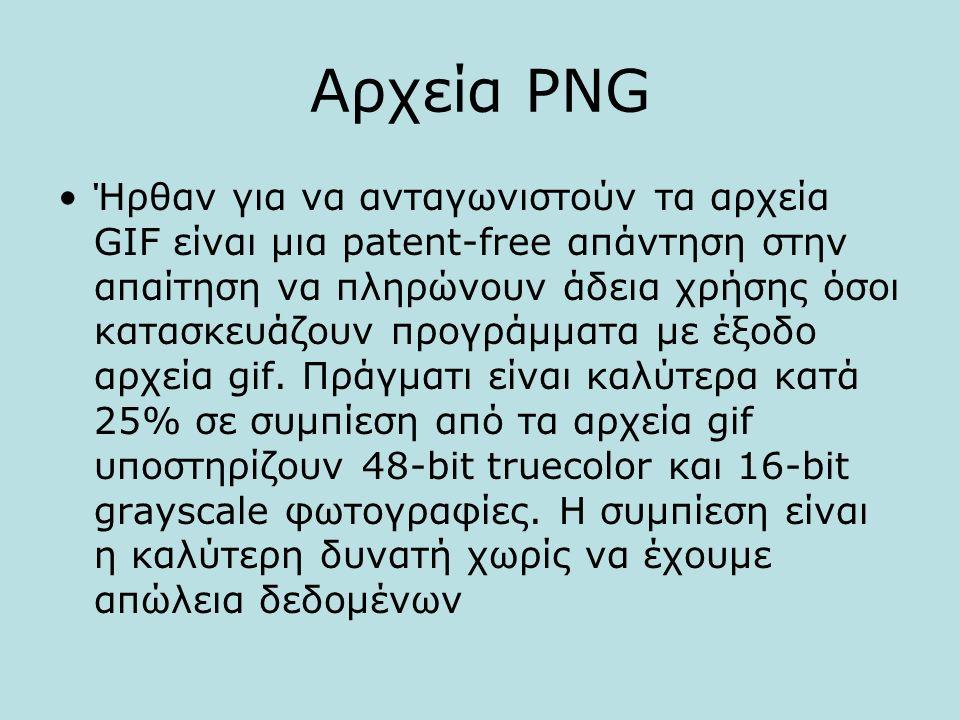 Αρχεία PNG Ήρθαν για να ανταγωνιστούν τα αρχεία GIF είναι μια patent-free απάντηση στην απαίτηση να πληρώνουν άδεια χρήσης όσοι κατασκευάζουν προγράμματα με έξοδο αρχεία gif.