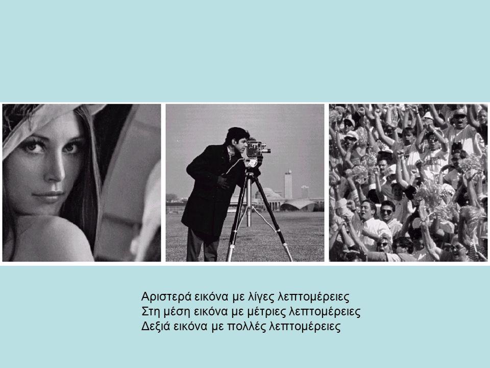 Αριστερά εικόνα με λίγες λεπτομέρειες Στη μέση εικόνα με μέτριες λεπτομέρειες Δεξιά εικόνα με πολλές λεπτομέρειες