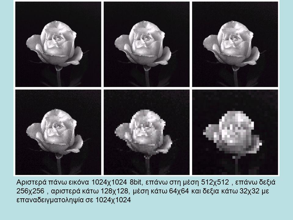 Αριστερά πάνω εικόνα 1024χ1024 8bit, επάνω στη μέση 512χ512, επάνω δεξιά 256χ256, αριστερά κάτω 128χ128, μέση κάτω 64χ64 και δεξια κάτω 32χ32 με επανα