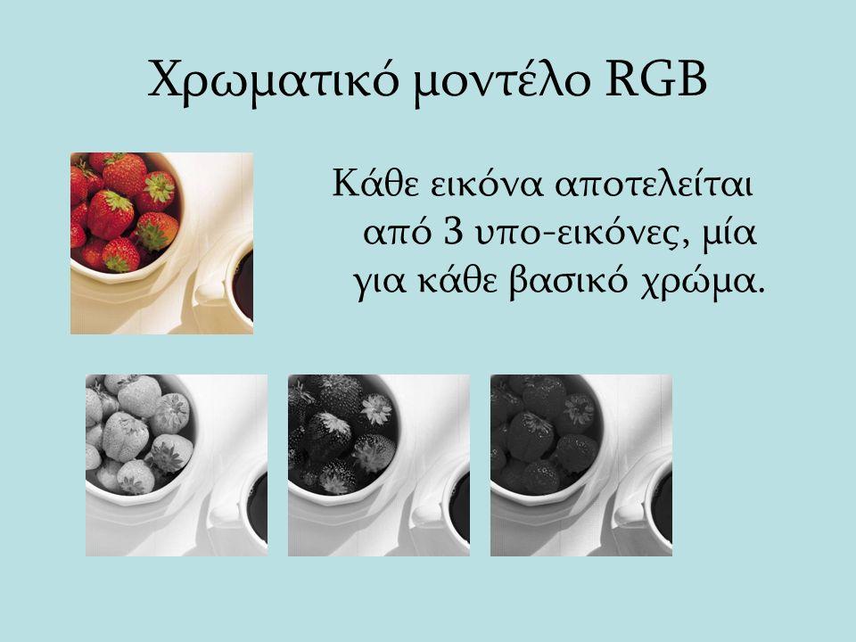 Χρωματικό μοντέλο RGB Κάθε εικόνα αποτελείται από 3 υπο-εικόνες, μία για κάθε βασικό χρώμα.