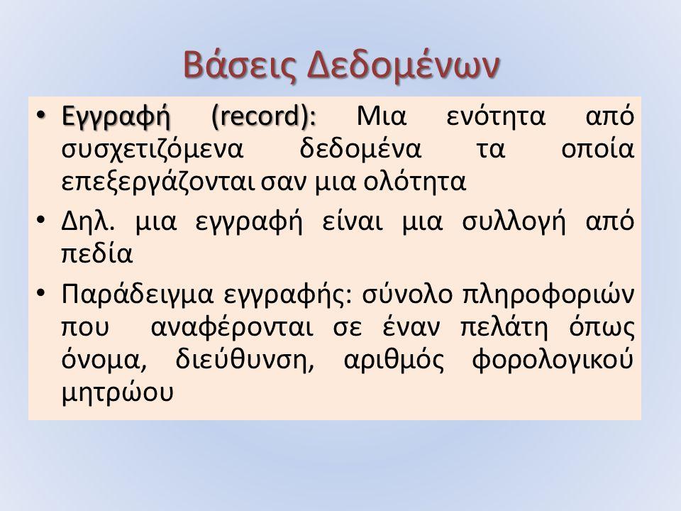 Βάσεις Δεδομένων Εγγραφή (record): Εγγραφή (record): Μια ενότητα από συσχετιζόμενα δεδομένα τα οποία επεξεργάζονται σαν μια ολότητα Δηλ.