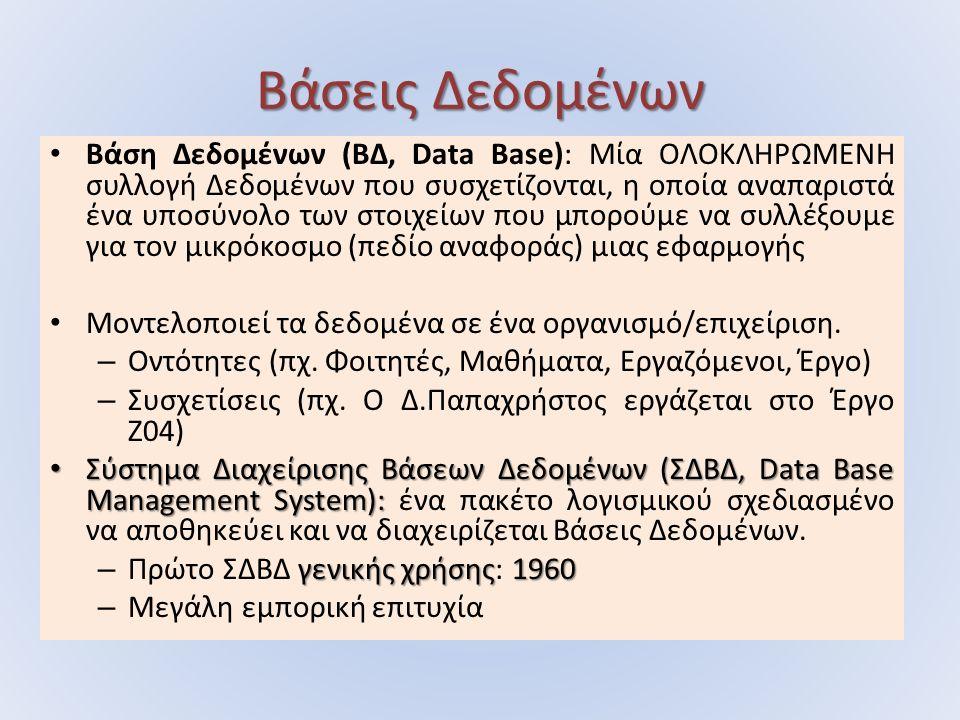 Βάσεις Δεδομένων Βάση Δεδομένων (ΒΔ, Data Base): Μία ΟΛΟΚΛΗΡΩΜΕΝΗ συλλογή Δεδομένων που συσχετίζονται, η οποία αναπαριστά ένα υποσύνολο των στοιχείων που μπορούμε να συλλέξουμε για τον μικρόκοσμο (πεδίο αναφοράς) μιας εφαρμογής Μοντελοποιεί τα δεδομένα σε ένα οργανισμό/επιχείριση.