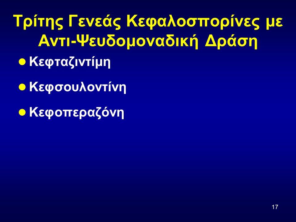 17 Τρίτης Γενεάς Κεφαλοσπορίνες με Αντι-Ψευδομοναδική Δράση Κεφταζιντίμη Κεφσουλοντίνη Κεφοπεραζόνη