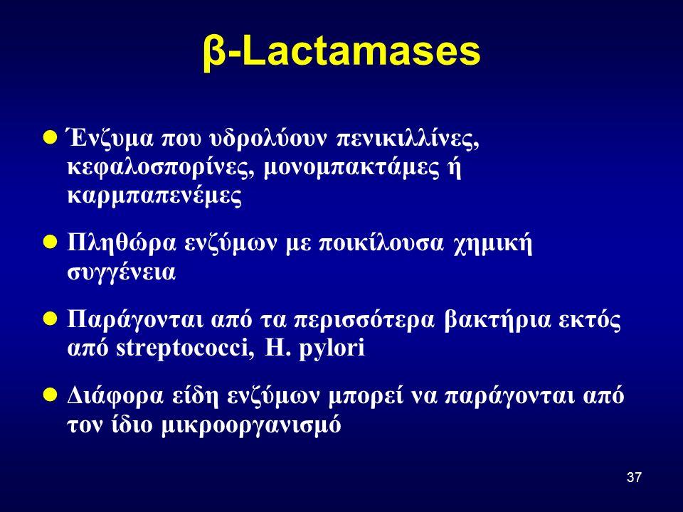 37 β-Lactamases Ένζυμα που υδρολύουν πενικιλλίνες, κεφαλοσπορίνες, μονομπακτάμες ή καρμπαπενέμες Πληθώρα ενζύμων με ποικίλουσα χημική συγγένεια Παράγονται από τα περισσότερα βακτήρια εκτός από streptococci, H.