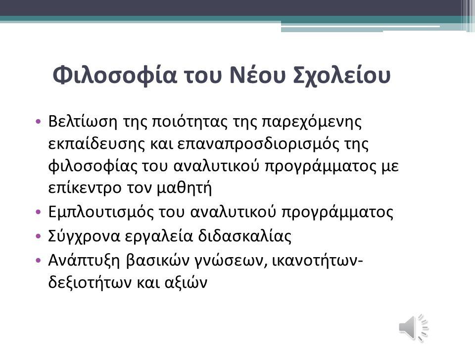 Ο μαθητής του νέου σχολείουΟ δάσκαλος του νέου σχολείου Μπορεί να ικανοποιήσει τις διαφορετικές ανάγκες και τα ενδιαφέροντά του Ερευνά, αναρωτιέται, ανακαλύπτει Συνεργάζεται / Αλληλεπιδρά Συνειδητός Έλληνας πολίτης-πολίτης του κόσμου Σύμβουλος εκπαιδευτικής διαδικασίας Βοηθητικός ρόλος «Γεννημένος δάσκαλος» Ανανεώνει τις γνώσεις του Πρότυπο για τους μαθητές του Ενεργητικός Αυτόνομος Δημιουργικός