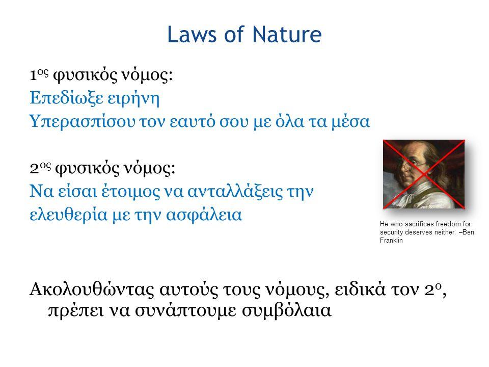 Laws of Nature 1 ος φυσικός νόμος: Επεδίωξε ειρήνη Υπερασπίσου τον εαυτό σου με όλα τα μέσα 2 ος φυσικός νόμος: Να είσαι έτοιμος να ανταλλάξεις την ελ