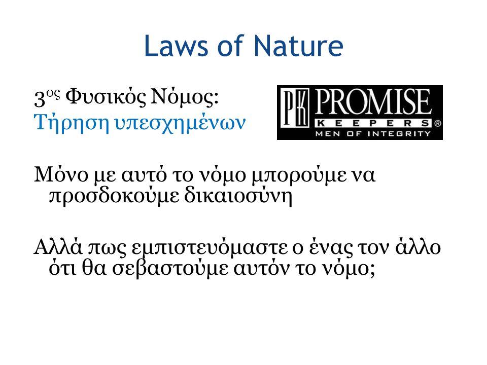 Laws of Nature 3 ος Φυσικός Νόμος: Τήρηση υπεσχημένων Μόνο με αυτό το νόμο μπορούμε να προσδοκούμε δικαιοσύνη Αλλά πως εμπιστευόμαστε ο ένας τον άλλο