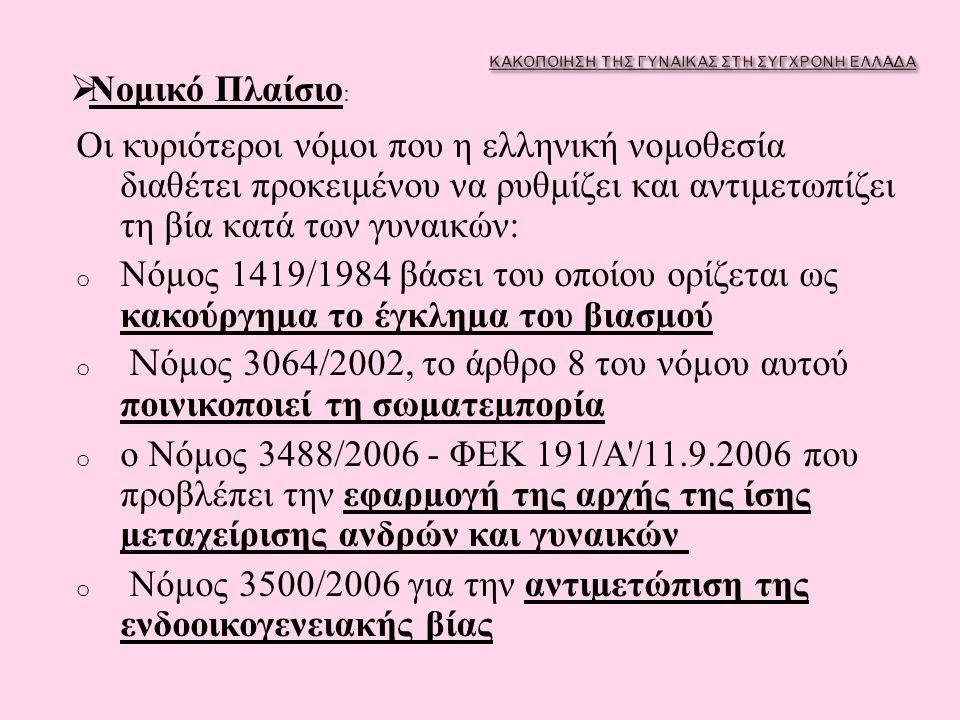 Οι κυριότεροι νόμοι που η ελληνική νο µ οθεσία διαθέτει προκειμένου να ρυθμίζει και αντιμετωπίζει τη βία κατά των γυναικών : o Νό µ ος 1419/1984 βάσει του οποίου ορίζεται ως κακούργη µ α το έγκλη µ α του βιασ µ ού o N ό µ ος 3064/2002, το άρθρο 8 του νό µ ου αυτού ποινικοποιεί τη σω µ ατε µ πορία o ο Νό µ ος 3488/2006 - ΦΕΚ 191/ Α /11.9.2006 που προβλέπει την εφαρ µ ογή της αρχής της ίσης µ εταχείρισης ανδρών και γυναικών o Νό µ ος 3500/2006 για την αντι µ ετώπιση της ενδοοικογενειακής βίας  Νομικό Πλαίσιο :