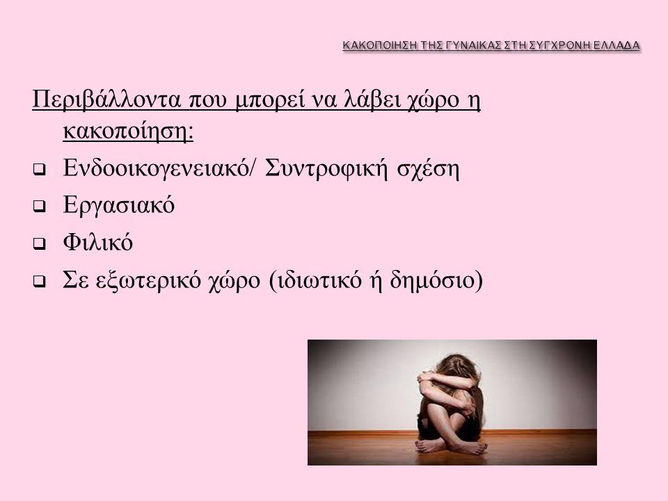 Περιβάλλοντα που μπορεί να λάβει χώρο η κακοποίηση :  Ενδοοικογενειακό / Συντροφική σχέση  Εργασιακό  Φιλικό  Σε εξωτερικό χώρο ( ιδιωτικό ή δημόσ