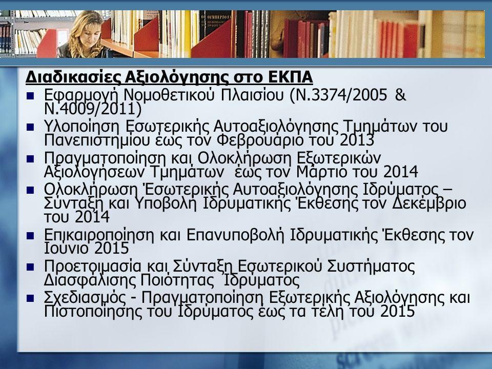 Διαδικασίες Αξιολόγησης στο ΕΚΠΑ Εφαρμογή Νομοθετικού Πλαισίου (Ν.3374/2005 & Ν.4009/2011) Υλοποίηση Εσωτερικής Αυτοαξιολόγησης Τμημάτων του Πανεπιστημίου έως τον Φεβρουάριο του 2013 Πραγματοποίηση και Ολοκλήρωση Εξωτερικών Αξιολογήσεων Τμημάτων έως τον Μάρτιο του 2014 Ολοκλήρωση Έσωτερικής Αυτοαξιολόγησης Ιδρύματος – Σύνταξη και Υποβολή Ιδρυματικής Έκθεσης τον Δεκέμβριο του 2014 Επικαιροποίηση και Επανυποβολή Ιδρυματικής Έκθεσης τον Ιούνιο 2015 Προετοιμασία και Σύνταξη Εσωτερικού Συστήματος Διασφάλισης Ποιότητας Ιδρύματος Σχεδιασμός - Πραγματοποίηση Εξωτερικής Αξιολόγησης και Πιστοποίησης του Ιδρύματος έως τα τέλη του 2015