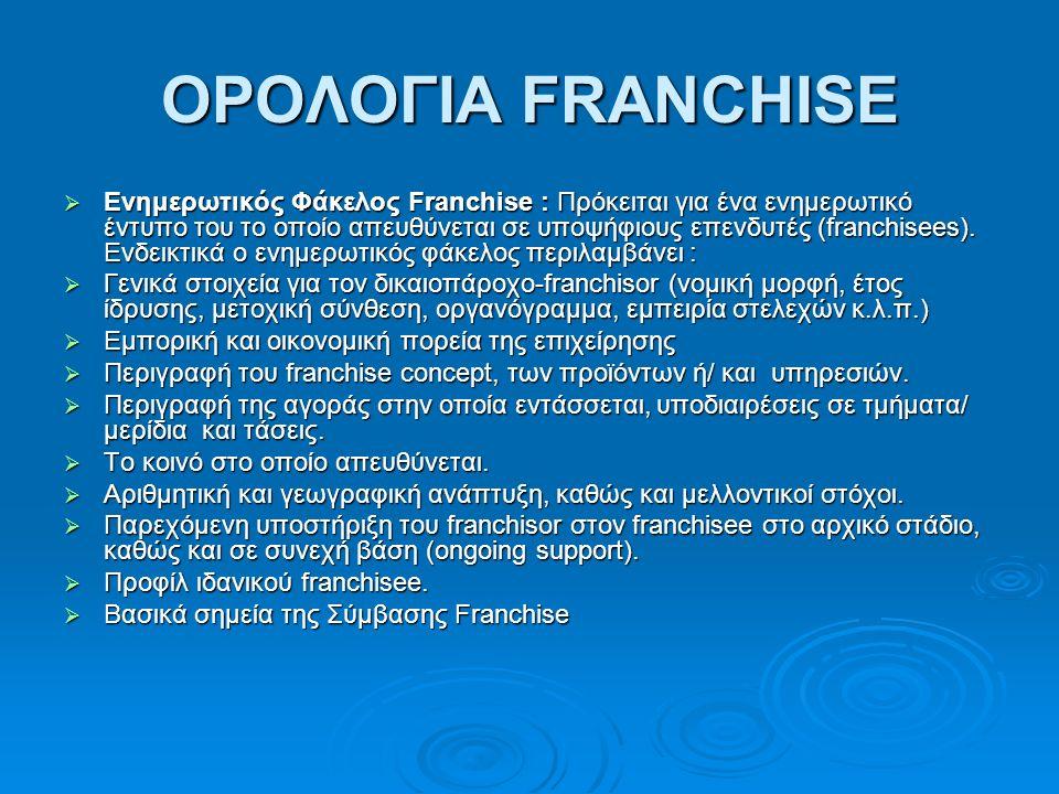 ΟΡΟΛΟΓΙΑ FRANCHISE  Ενημερωτικός Φάκελος Franchise : Πρόκειται για ένα ενημερωτικό έντυπο του το οποίο απευθύνεται σε υποψήφιους επενδυτές (franchisees).