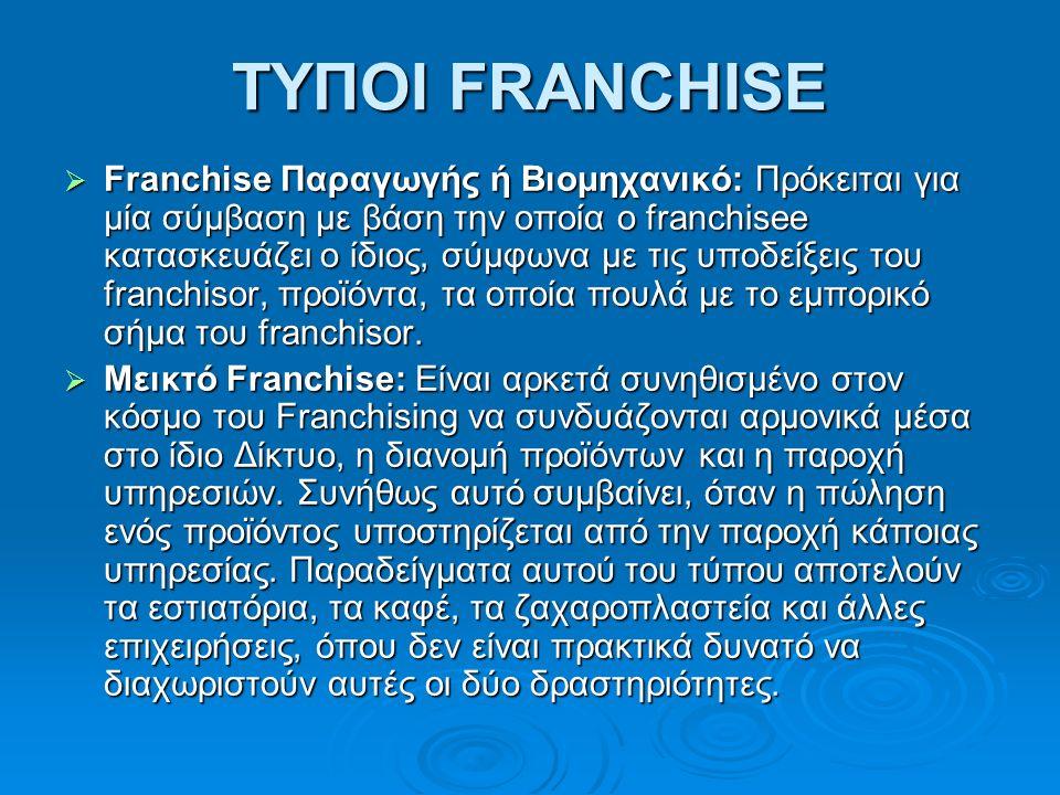 ΤΥΠΟΙ FRANCHISE  Franchise Παραγωγής ή Βιομηχανικό: Πρόκειται για μία σύμβαση με βάση την οποία ο franchisee κατασκευάζει ο ίδιος, σύμφωνα με τις υποδείξεις του franchisor, προϊόντα, τα οποία πουλά με το εμπορικό σήμα του franchisor.
