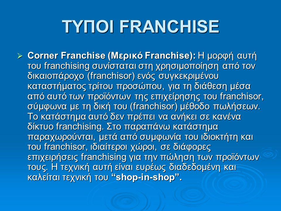 ΤΥΠΟΙ FRANCHISE  Corner Franchise (Μερικό Franchise): H μορφή αυτή του franchising συνίσταται στη χρησιμοποίηση από τον δικαιοπάροχο (franchisor) ενός συγκεκριμένου καταστήματος τρίτου προσώπου, για τη διάθεση μέσα από αυτό των προϊόντων της επιχείρησης του franchisor, σύμφωνα με τη δική του (franchisor) μέθοδο πωλήσεων.