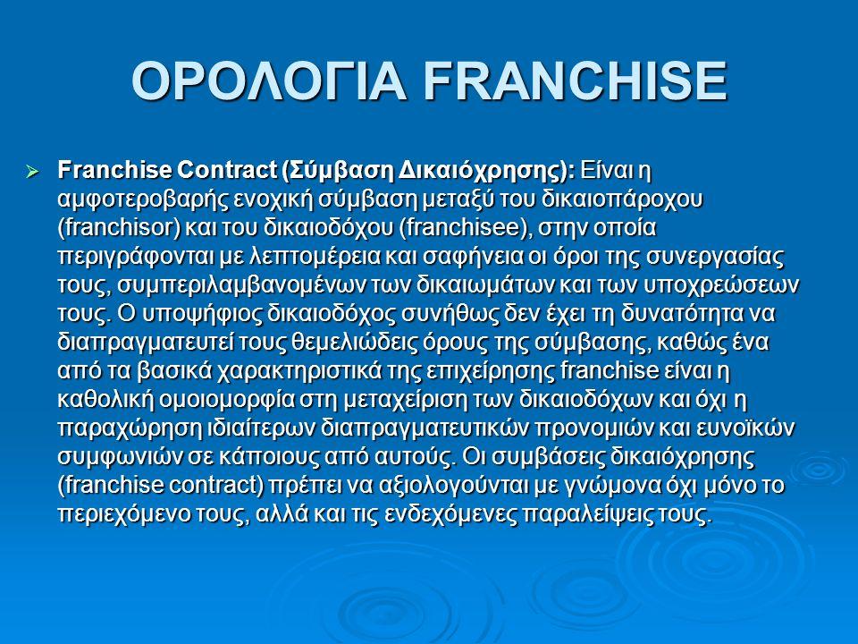 ΟΡΟΛΟΓΙΑ FRANCHISE  Franchise Contract (Σύμβαση Δικαιόχρησης): Είναι η αμφοτεροβαρής ενοχική σύμβαση μεταξύ του δικαιοπάροχου (franchisor) και του δικαιοδόχου (franchisee), στην οποία περιγράφονται με λεπτομέρεια και σαφήνεια οι όροι της συνεργασίας τους, συμπεριλαμβανομένων των δικαιωμάτων και των υποχρεώσεων τους.