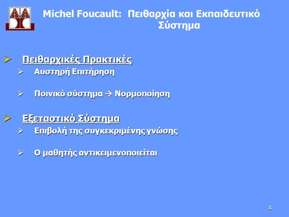 4  Πειθαρχικές Πρακτικές  Αυστηρή Επιτήρηση  Ποινικό σύστημα  Νορμοποίηση  Εξεταστικό Σύστημα  Επιβολή της συγκεκριμένης γνώσης  Ο μαθητής αντικειμενοποιείται Μichel Foucault: Πειθαρχία και Εκπαιδευτικό Σύστημα