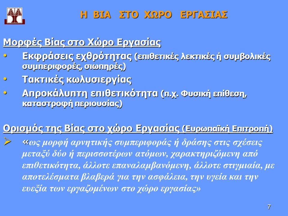 7 Η ΒΙΑ ΣΤΟ ΧΩΡΟ ΕΡΓΑΣΙΑΣ Μορφές Βίας στο Χώρο Εργασίας Εκφράσεις εχθρότητας (επιθετικές λεκτικές ή συμβολικές συμπεριφορές, σιωπηρές) Εκφράσεις εχθρότητας (επιθετικές λεκτικές ή συμβολικές συμπεριφορές, σιωπηρές) Τακτικές κωλυσιεργίας Τακτικές κωλυσιεργίας Απροκάλυπτη επιθετικότητα (π.χ.
