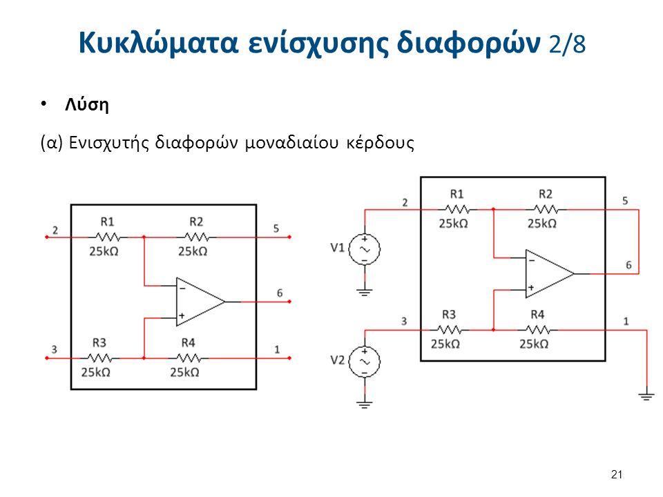 Κυκλώματα ενίσχυσης διαφορών 2/8 Λύση (α) Ενισχυτής διαφορών μοναδιαίου κέρδους 21