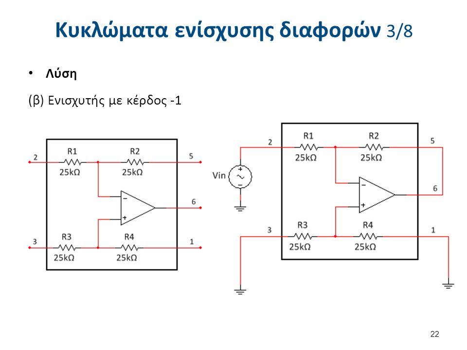 Κυκλώματα ενίσχυσης διαφορών 3/8 Λύση (β) Ενισχυτής με κέρδος -1 22