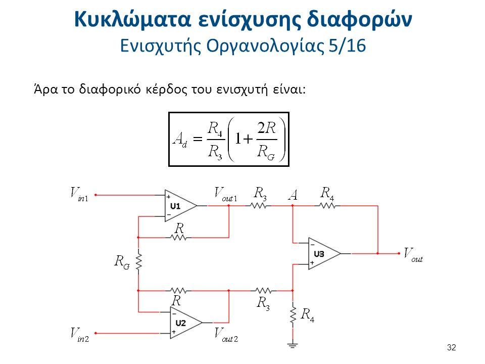 Κυκλώματα ενίσχυσης διαφορών Ενισχυτής Οργανολογίας 5/16 Άρα το διαφορικό κέρδος του ενισχυτή είναι: 32