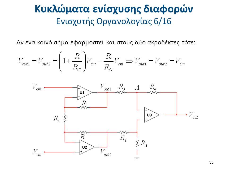 Κυκλώματα ενίσχυσης διαφορών Ενισχυτής Οργανολογίας 6/16 Αν ένα κοινό σήμα εφαρμοστεί και στους δύο ακροδέκτες τότε: 33