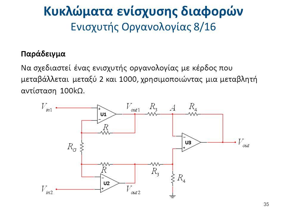 Κυκλώματα ενίσχυσης διαφορών Ενισχυτής Οργανολογίας 8/16 Παράδειγμα Να σχεδιαστεί ένας ενισχυτής οργανολογίας με κέρδος που μεταβάλλεται μεταξύ 2 και 1000, χρησιμοποιώντας μια μεταβλητή αντίσταση 100kΩ.