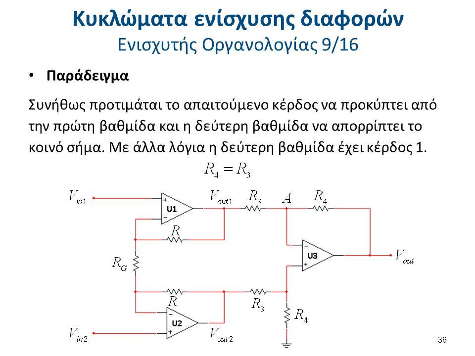 Κυκλώματα ενίσχυσης διαφορών Ενισχυτής Οργανολογίας 9/16 Παράδειγμα Συνήθως προτιμάται το απαιτούμενο κέρδος να προκύπτει από την πρώτη βαθμίδα και η δεύτερη βαθμίδα να απορρίπτει το κοινό σήμα.