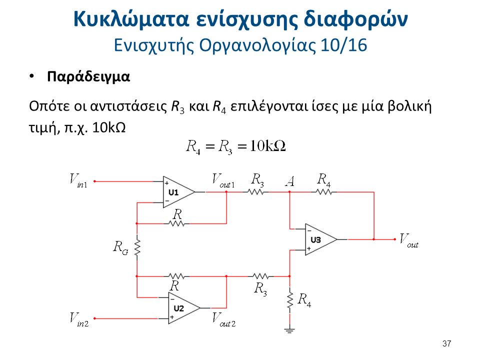 Κυκλώματα ενίσχυσης διαφορών Ενισχυτής Οργανολογίας 10/16 Παράδειγμα Οπότε οι αντιστάσεις R 3 και R 4 επιλέγονται ίσες με μία βολική τιμή, π.χ.