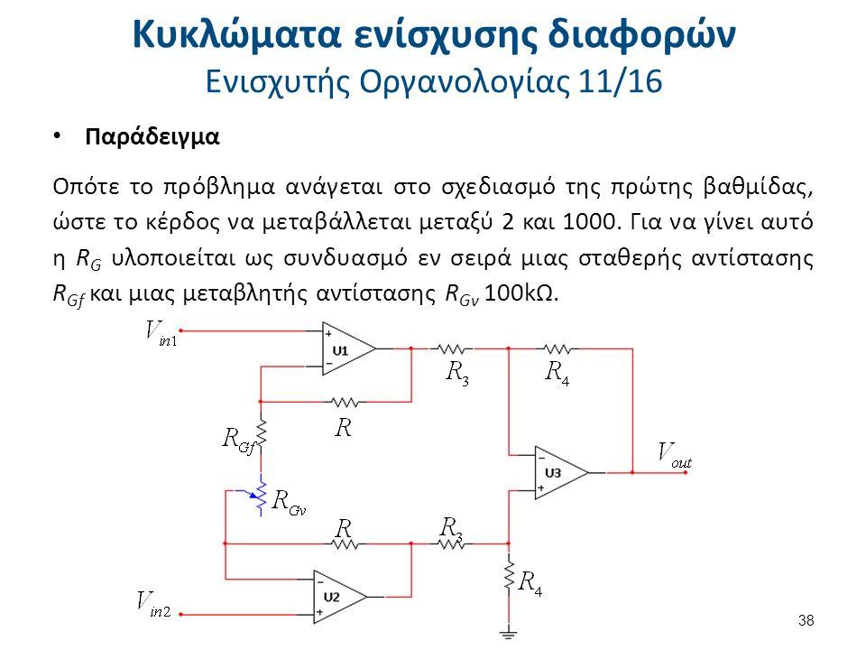 Κυκλώματα ενίσχυσης διαφορών Ενισχυτής Οργανολογίας 11/16 Παράδειγμα Οπότε το πρόβλημα ανάγεται στο σχεδιασμό της πρώτης βαθμίδας, ώστε το κέρδος να μεταβάλλεται μεταξύ 2 και 1000.