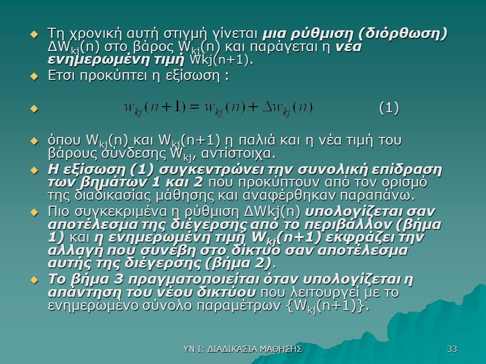 ΥΝ Ι: ΔΙΑΔΙΚΑΣΙΑ ΜΑΘΗΣΗΣ 33  Tη χρονική αυτή στιγμή γίνεται μια ρύθμιση (διόρθωση) ΔW kj (n) στο βάρος W kj (n) και παράγεται η νέα ενημερωμένη τιμή