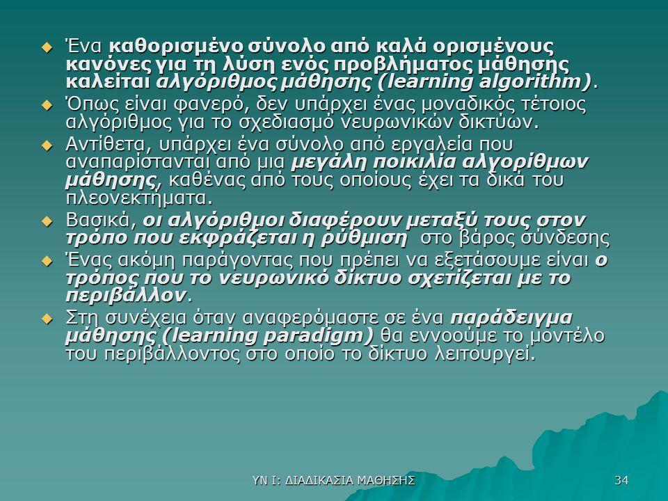 ΥΝ Ι: ΔΙΑΔΙΚΑΣΙΑ ΜΑΘΗΣΗΣ 34  Ένα καθορισμένο σύνολο από καλά ορισμένους κανόνες για τη λύση ενός προβλήματος μάθησης καλείται αλγόριθμος μάθησης (lea