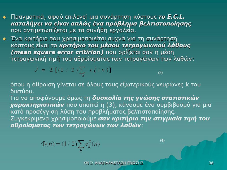 ΥΝ Ι: ΑΝΑΠΑΡΑΣΤΑΣΗ ΓΝΩΣΗΣ 36  Πραγματικά, αφού επιλεγεί μια συνάρτηση κόστους το E.C.L. καταλήγει να είναι απλώς ένα πρόβλημα βελτιστοποίησης που αντ
