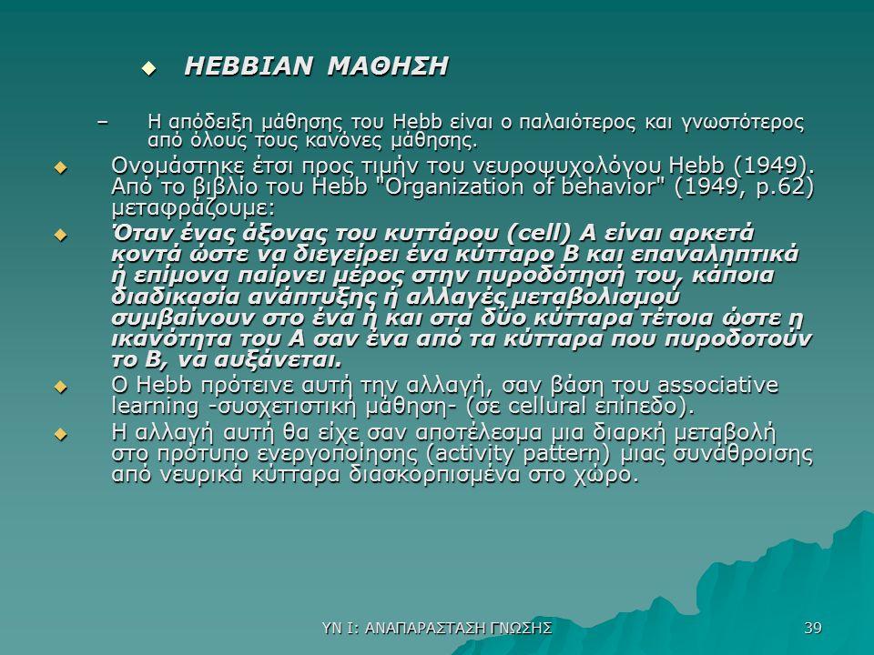 ΥΝ Ι: ΑΝΑΠΑΡΑΣΤΑΣΗ ΓΝΩΣΗΣ 39  HEBBIAN ΜΑΘΗΣΗ –Η απόδειξη μάθησης του Hebb είναι ο παλαιότερος και γνωστότερος από όλους τους κανόνες μάθησης.  Ονομά