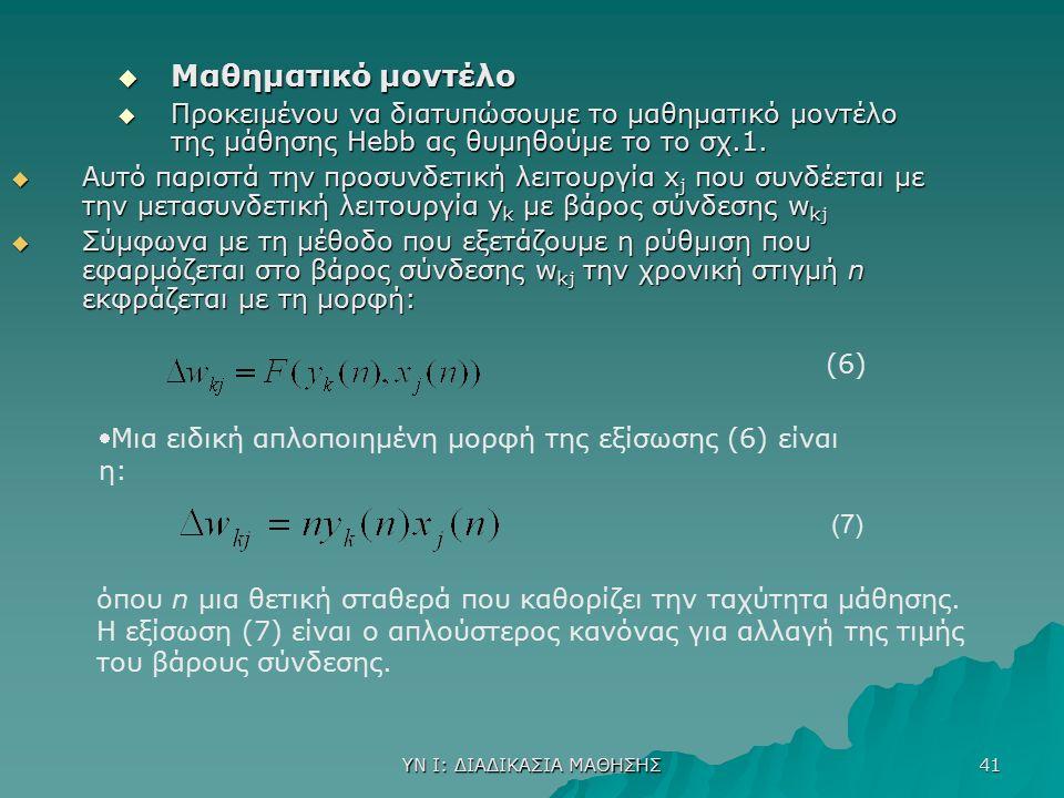 ΥΝ Ι: ΔΙΑΔΙΚΑΣΙΑ ΜΑΘΗΣΗΣ 41  Mαθηματικό μοντέλο  Προκειμένου να διατυπώσουμε το μαθηματικό μοντέλο της μάθησης Hebb ας θυμηθούμε το το σχ.1.