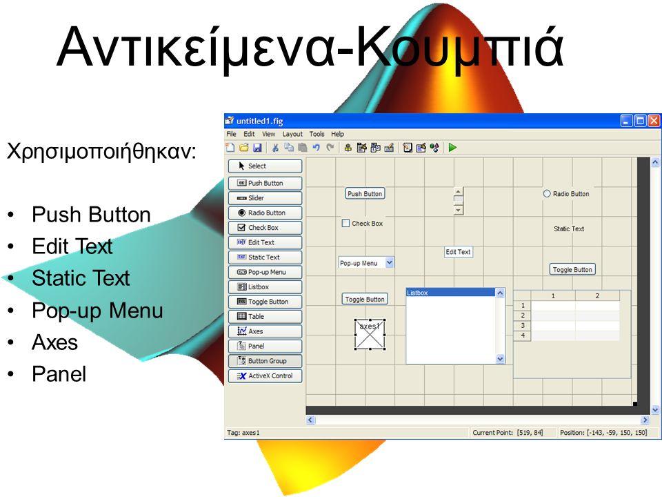 Αντικείμενα-Κουμπιά Χρησιμοποιήθηκαν: Push Button Edit Text Static Text Pop-up Menu Axes Panel