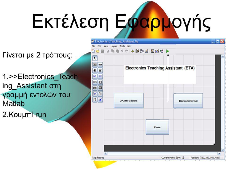 Εκτέλεση Εφαρμογής Γίνεται με 2 τρόπους: 1.>>Electronics_Teach ing_Assistant στη γραμμή εντολών του Matlab 2.Κουμπί run