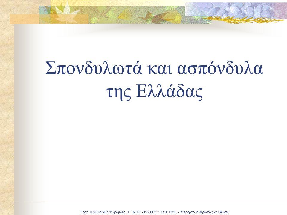 Έργο ΠΛΕΙΑΔΕΣ/Νηρηίδες, Γ' ΚΠΣ - ΕΑ.ΙΤΥ / Υπ.Ε.Π.Θ. - Υποέργο Άνθρωπος και Φύση Σπονδυλωτά και ασπόνδυλα της Ελλάδας