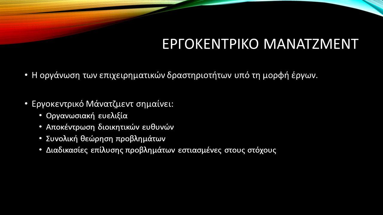 ΕΡΓΟΚΕΝΤΡΙΚΟ ΜΑΝΑΤΖΜΕΝΤ Η οργάνωση των επιχειρηματικών δραστηριοτήτων υπό τη μορφή έργων. Εργοκεντρικό Μάνατζμεντ σημαίνει: Οργανωσιακή ευελιξία Αποκέ